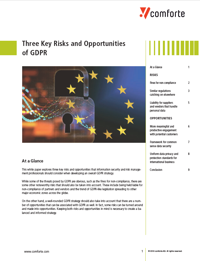three key risks and opportunities of GDPR